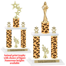 """Animal Print 2-Column trophy with choice of trophy height and numerous figures available.  Go """"Wild"""" with your awards!"""