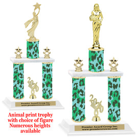 """Animal Print 2-Column trophy with choice of trophy height and numerous figures available.  Go """"Wild"""" with your awards!  (003"""