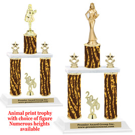 """Animal Print 2-Column trophy with choice of trophy height and numerous figures available.  Go """"Wild"""" with your awards!  (004"""