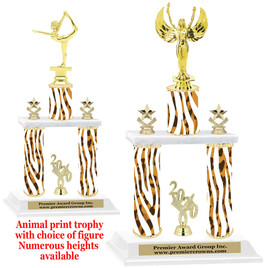 """Animal Print 2-Column trophy with choice of trophy height and numerous figures available.  Go """"Wild"""" with your awards!  (005"""