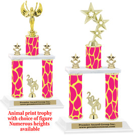 """Animal Print 2-Column trophy with choice of trophy height and numerous figures available.  Go """"Wild"""" with your awards!  (006"""