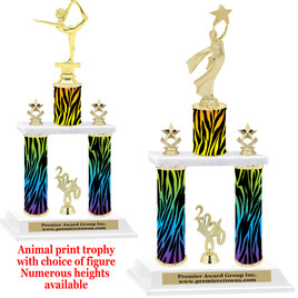 """Animal Print 2-Column trophy with choice of trophy height and numerous figures available.  Go """"Wild"""" with your awards!  (008"""