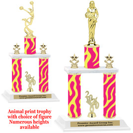 """Animal Print 2-Column trophy with choice of trophy height and numerous figures available.  Go """"Wild"""" with your awards!  (010"""