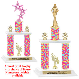 """Animal Print 2-Column trophy with choice of trophy height and numerous figures available.  Go """"Wild"""" with your awards!  (011"""