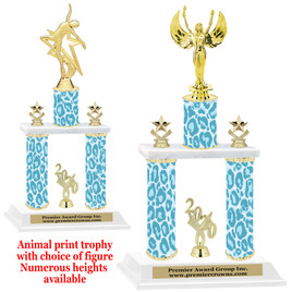 """Animal Print 2-Column trophy with choice of trophy height and numerous figures available.  Go """"Wild"""" with your awards!  (012"""