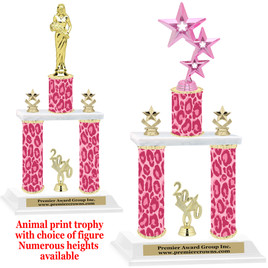 """Animal Print 2-Column trophy with choice of trophy height and numerous figures available.  Go """"Wild"""" with your awards!  (013"""