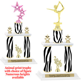 """Animal Print 2-Column trophy with choice of trophy height and numerous figures available.  Go """"Wild"""" with your awards!  (014"""