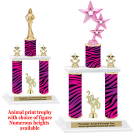 """Animal Print 2-Column trophy with choice of trophy height and numerous figures available.  Go """"Wild"""" with your awards!  (015"""