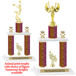 """Animal Print 2-Column trophy with choice of trophy height and numerous figures available.  Go """"Wild"""" with your awards!  (016"""