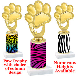 Paw Print Figure with Animal Print Column.  Choice of animal print, trophy height and base.