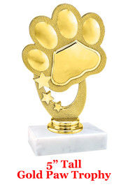 """NEW!  5""""  trophy with  Gold Paw Print figure.  Includes choice of base and free engraved name plate."""