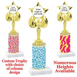 Animal Print Column Trophy. add your logo or custom art work!  Choice of animal print, trophy height and base.  (7517