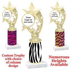 Animal Print Column Trophy. add your logo or custom art work!  Choice of animal print, trophy height and base.  (h208