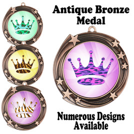 Animal Print Medal.  Antique Bronze medal finish.   Includes free engraving and neck ribbon.