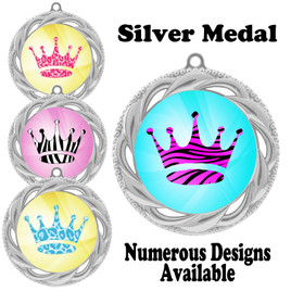 Animal Print Medal.  Silver medal finish.   Includes free engraving and neck ribbon.  938-S
