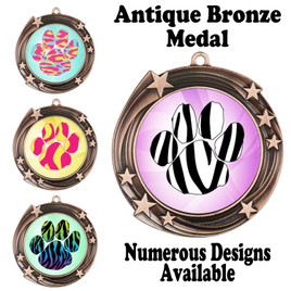 Animal Print Medal.  Antique Bronze medal finish.   Includes free engraving and neck ribbon.  930B2