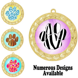 Animal Print Medal.  Gold medal finish.   Includes free engraving and neck ribbon.  935-g2