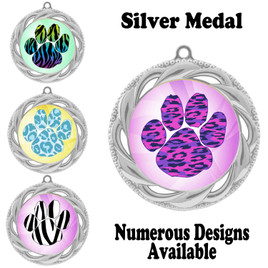 Animal Print Medal.  Silver medal finish.   Includes free engraving and neck ribbon.  938-S2