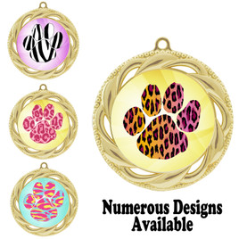 Animal Print Medal.  Gold medal finish.   Includes free engraving and neck ribbon.  938-G2