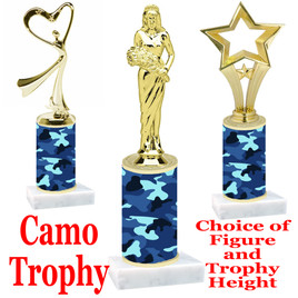 """Camo Trophy  with choice of figure and trophy height.  Trophy heights starts at 10"""" tall  - 001"""