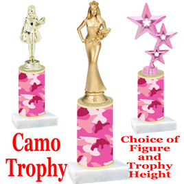 """Camo Trophy  with choice of figure and trophy height.  Trophy heights starts at 10"""" tall  - 004"""
