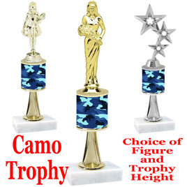"""Camo Trophy  with choice of figure and trophy height.  Trophy heights starts at 10"""" tall  - stem 001"""