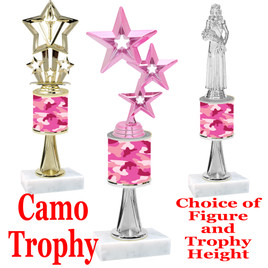 """Camo Trophy  with choice of figure and trophy height.  Trophy heights starts at 10"""" tall  - stem 004"""