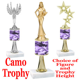 """Camo Trophy  with choice of figure and trophy height.  Trophy heights starts at 10"""" tall  - stem 005"""