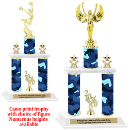 Camo Print 2-Column trophy with choice of trophy height and numerous figures available.  001
