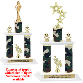 Camo Print 2-Column trophy with choice of trophy height and numerous figures available.  002