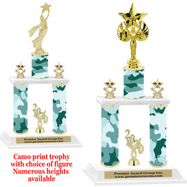 Camo Print 2-Column trophy with choice of trophy height and numerous figures available.  003