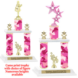 Camo Print 2-Column trophy with choice of trophy height and numerous figures available.  004