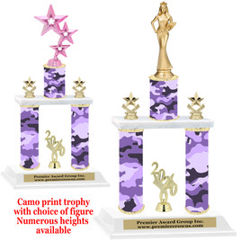 Camo Print 2-Column trophy with choice of trophy height and numerous figures available.  005