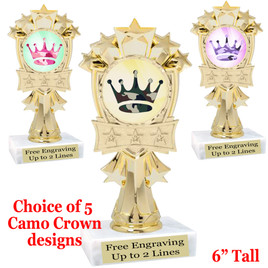 """Camo theme trophy.  6"""" tall with choice of camo crown design.  MF3260"""