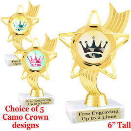 """Camo theme trophy.  6"""" tall with choice of camo crown design.  ph-27"""
