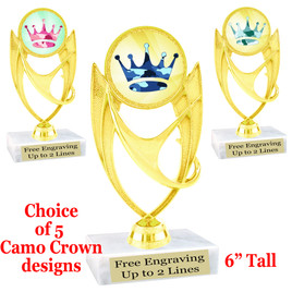 """Camo theme trophy.  6"""" tall with choice of camo crown design.  ph-28"""