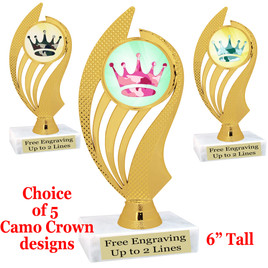 """Camo theme trophy.  6"""" tall with choice of camo crown design.  ph-102"""