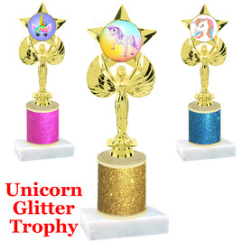 Unicorn theme trophy with Glitter Column.  Choice of base, trophy height, glitter color and art work.   (7517)
