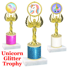 Unicorn theme trophy with Glitter Column.  Choice of base, trophy height, glitter color and art work.   (80087