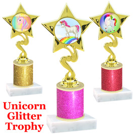 Unicorn theme trophy with Glitter Column.  Choice of base, trophy height, glitter color and art work.   (80106