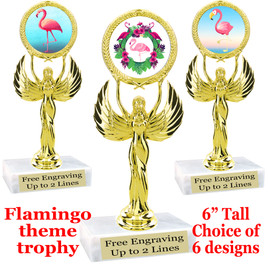 "Flamingo theme trophy with choice of art work.  6"" tall  (80087"