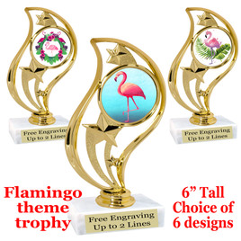"Flamingo theme trophy with choice of art work.  6"" tall  (90126"