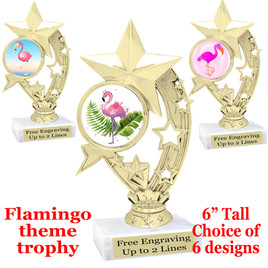 "Flamingo theme trophy with choice of art work.  6"" tall  (h208"