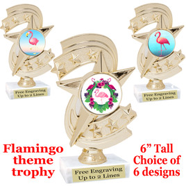 "Flamingo theme trophy with choice of art work.  6"" tall  (h300"
