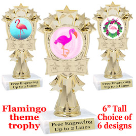 "Flamingo theme trophy with choice of art work.  6"" tall  (mf3260"