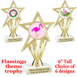 "Flamingo theme trophy with choice of art work.  6"" tall with free engraved plate  (ph30"