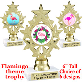 "Flamingo theme trophy with choice of art work.  6"" tall with free engraved plate  (ph75"