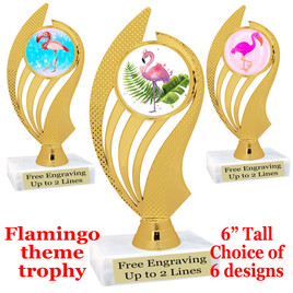 "Flamingo theme trophy with choice of art work.  6"" tall with free engraved plate  (ph102"