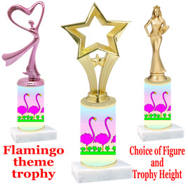 Flamingo  trophy with choice of trophy height and figure (004