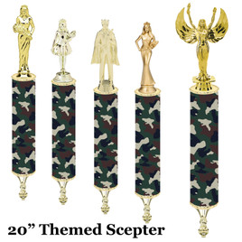 "Camo Scepter!  20"" tall with choice of figure.   (004"